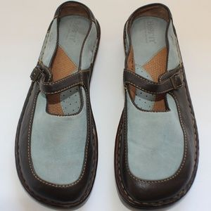 Born Light Blue Suede and Brown Leather Slip-on